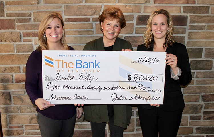 The Bank of Elk River Raises $8,000 for United Way