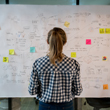 Image of woman sketching a business plan on easel with post-it notes.